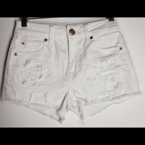 AEO White Distressed Super Stretch Short Shorts